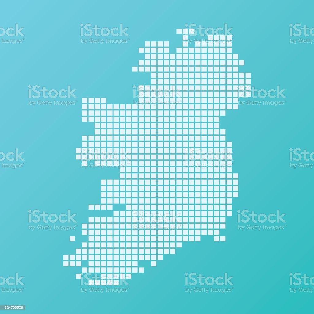 Ireland Island Map Basic Square Pattern Turquoise vector art illustration