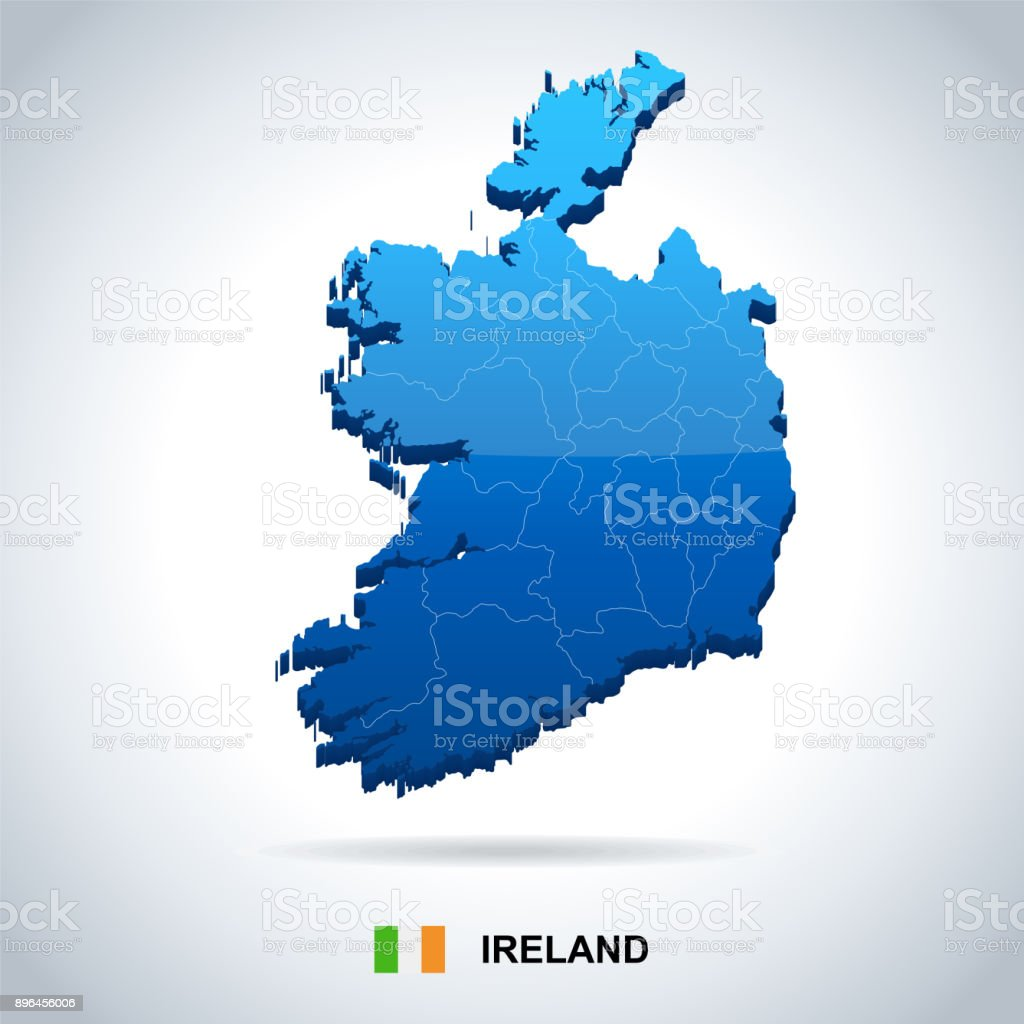 Ireland - map and flag - Detailed Vector Illustration