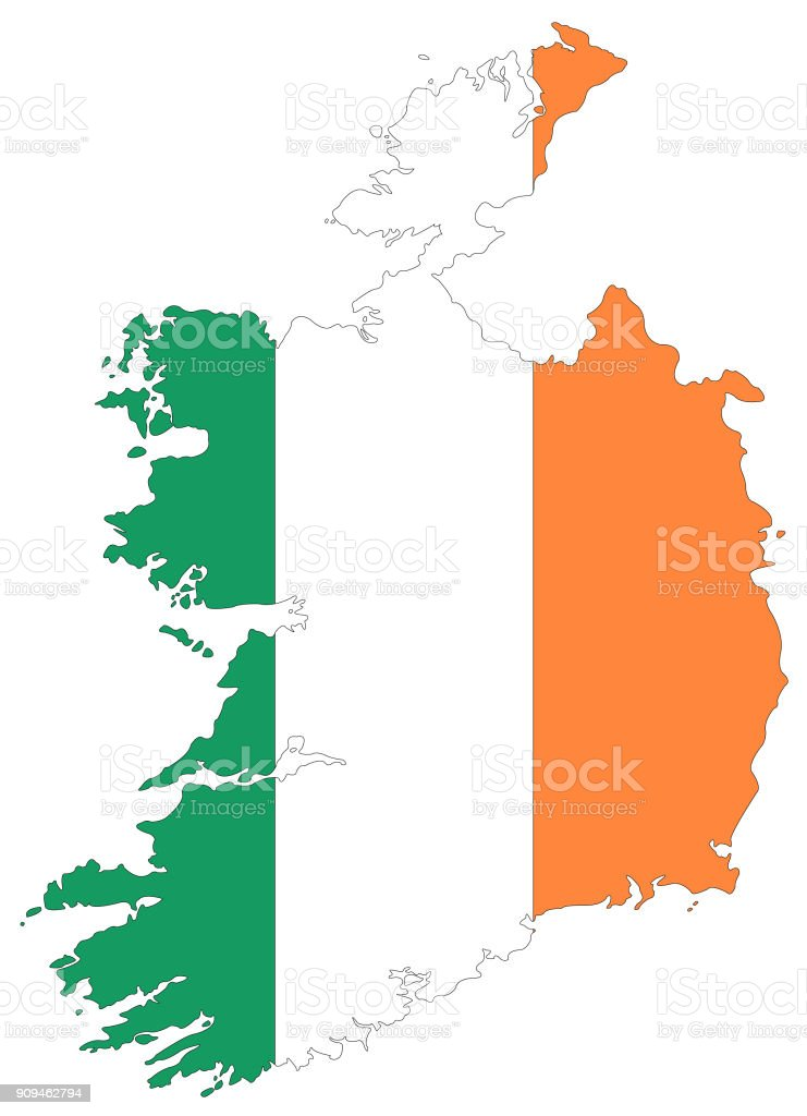 Ireland map and flag vector art illustration