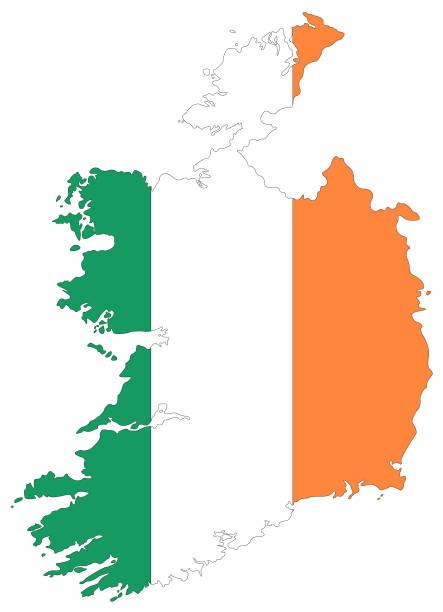 ilustraciones, imágenes clip art, dibujos animados e iconos de stock de bandera y mapa de irlanda - bandera irlandesa