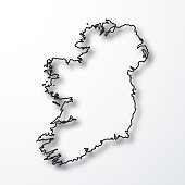 Ireland map - Black outline with shadow on white background