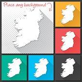 Ireland Map for design, Long Shadow, Flat Design