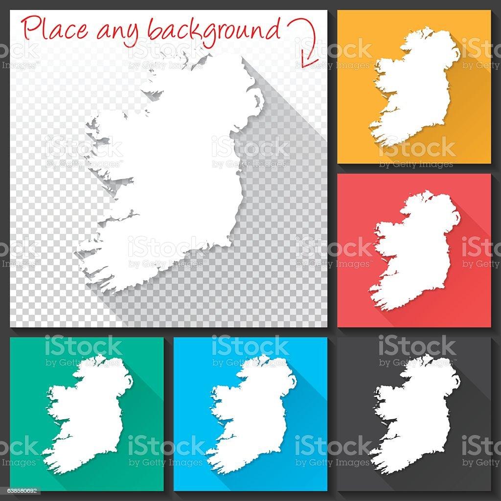 Ireland Map for design, Long Shadow, Flat Design vector art illustration