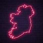 Map of Ireland in a realistic neon sign style. The map is created with a pink glowing neon light on a dark brick wall. Modern and trendy illustration with beautiful bright colors. Vector Illustration (EPS10, well layered and grouped). Easy to edit, manipulate, resize or colorize.
