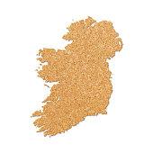 Ireland map in cork board texture on white background