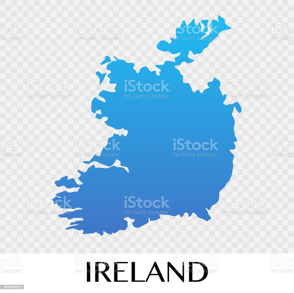 Ireland On Map Of Europe.Ireland Map In Europe Continent Illustration Design Stock