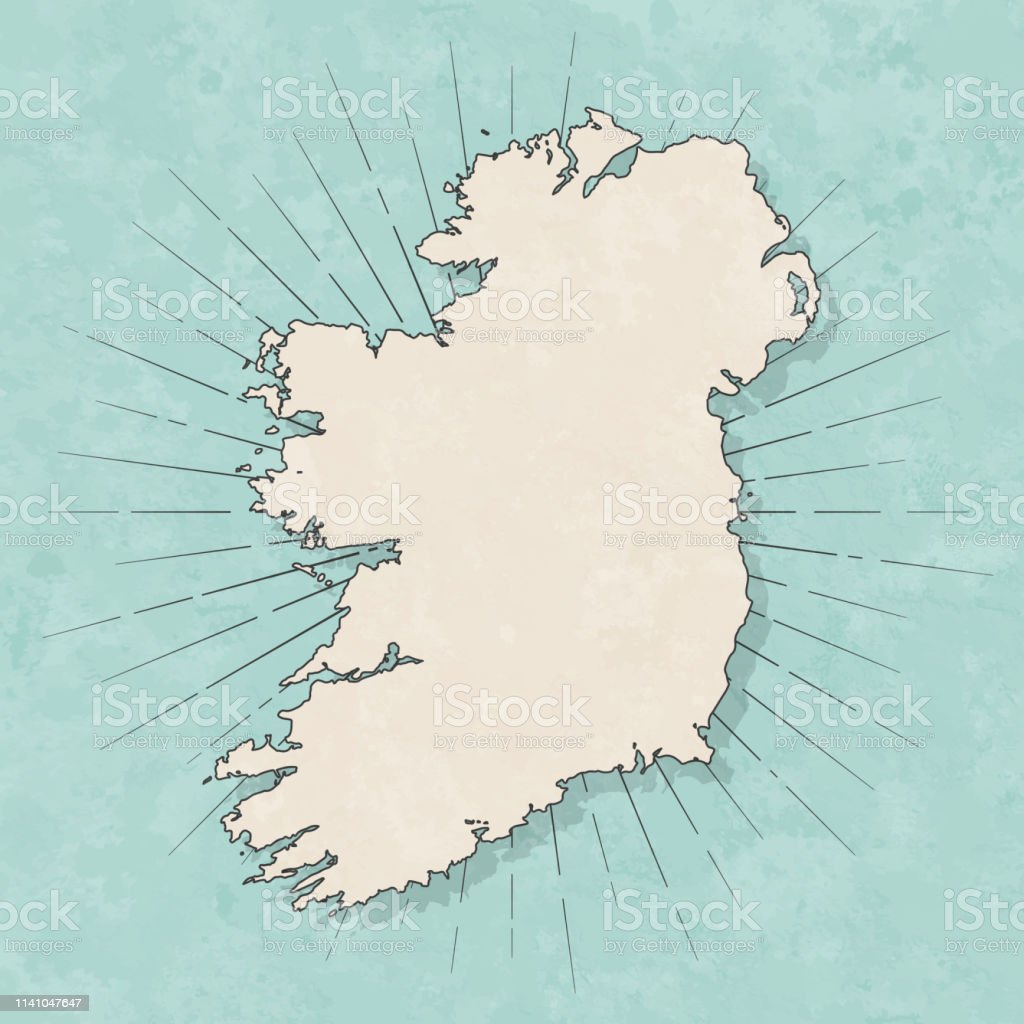 Map of Ireland in a trendy vintage style. Beautiful retro...