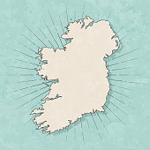 Ireland map in retro vintage style - Old textured paper