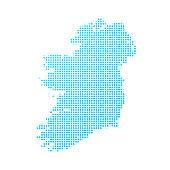 Ireland map of blue dots on white background