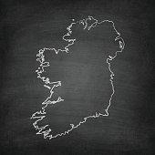 Ireland Map on Blackboard - Chalkboard