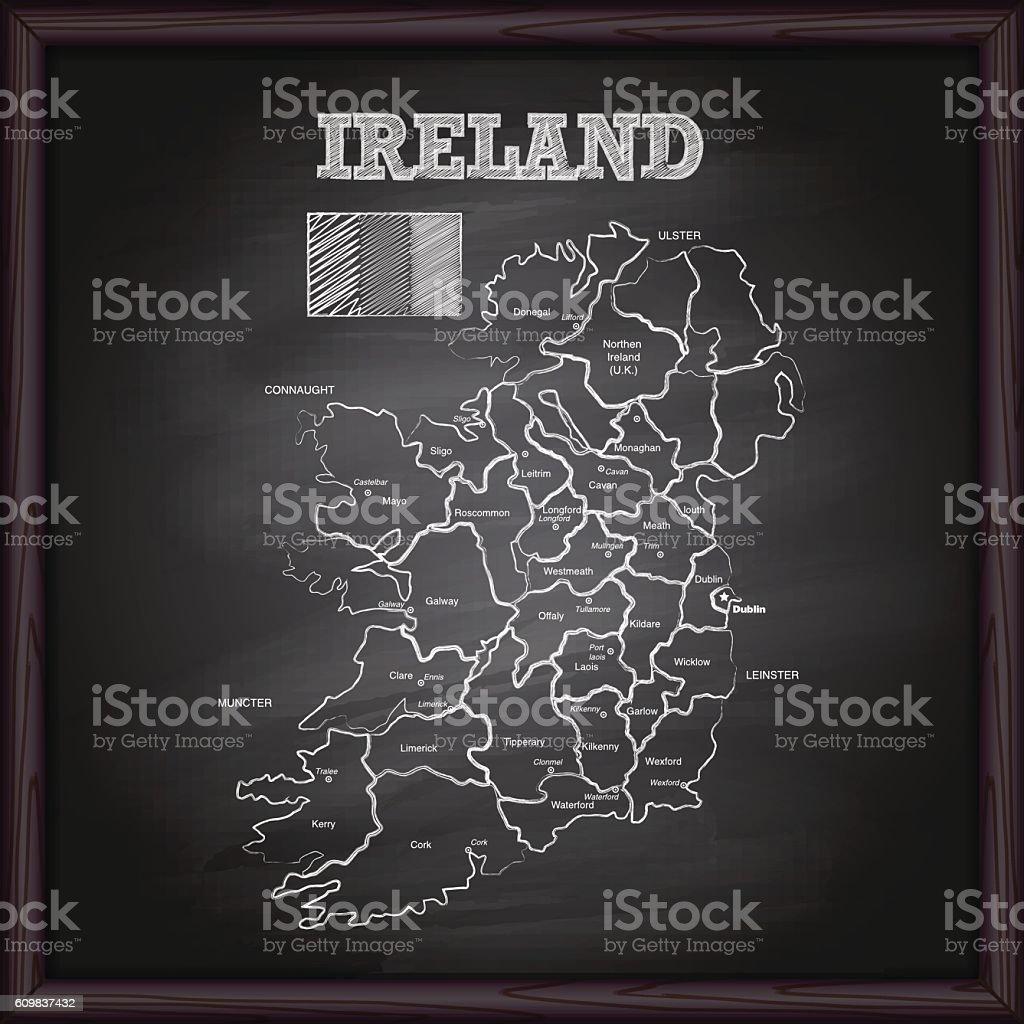 Ireland map on chalkboard