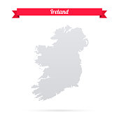 Ireland map on white background with red banner