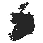 Ireland map simple black white silhouette