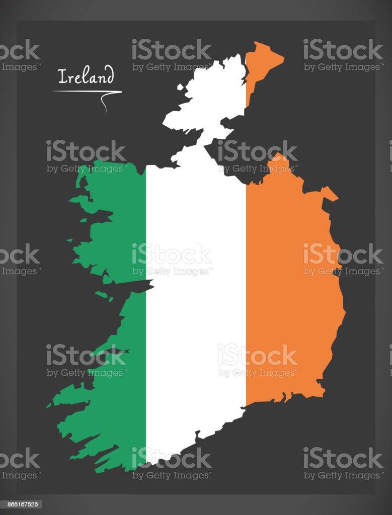 Mapa de España con la ilustración de la bandera nacional irlandés - ilustración de arte vectorial