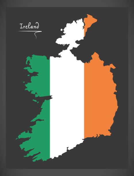 ilustraciones, imágenes clip art, dibujos animados e iconos de stock de mapa de españa con la ilustración de la bandera nacional irlandés - bandera irlandesa