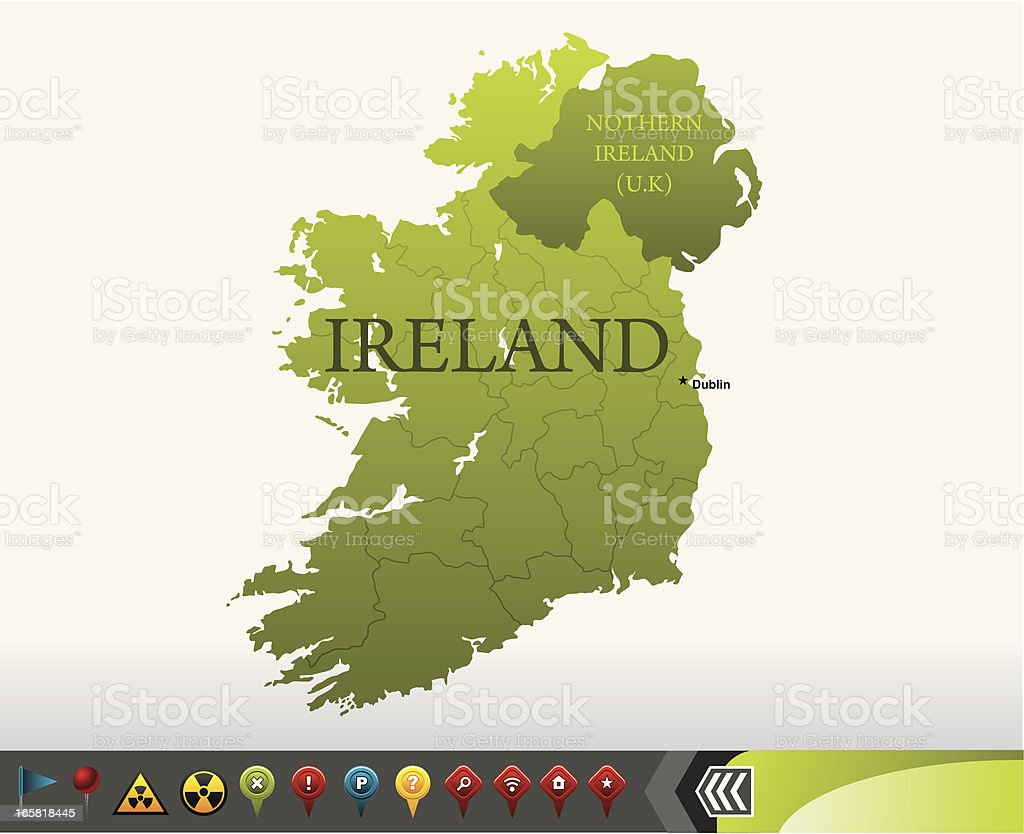 Ireland map with navigation icons vector art illustration