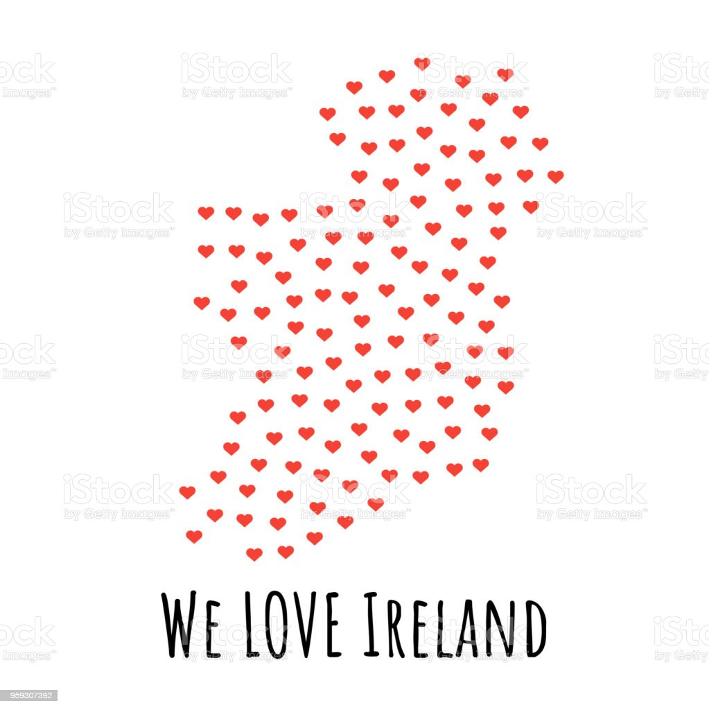 Ireland Map With Red Hearts Symbol Of Love Abstract Background Stock