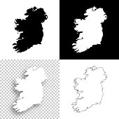 Ireland maps for design - Blank, white and black backgrounds