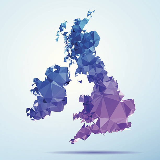 UK Ireland Polygon Triangle Map Blue Abstract Polygon Triangle vector map of United Kingdom and Ireland. File was created in DMesh Pro and Adobe Illustrator on May 23, 2014. The colors in the .eps-file are in RGB. Transparencies used. Included files are EPS (v10) and Hi-Res JPG (5035 x 5035 px). map crystal stock illustrations
