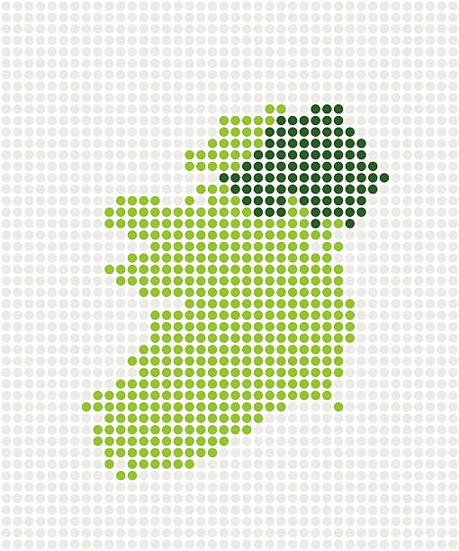 Ireland  Pop Map ( Vector ) Ireland and Northern (dark green) Ireland. Abstract pop map. Made with circles. Grouped for easy color change. svg stock illustrations