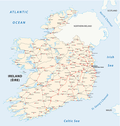 Road Map Of Ireland And Northern Ireland.Ireland Road Map Stock Illustration Download Image Now Istock