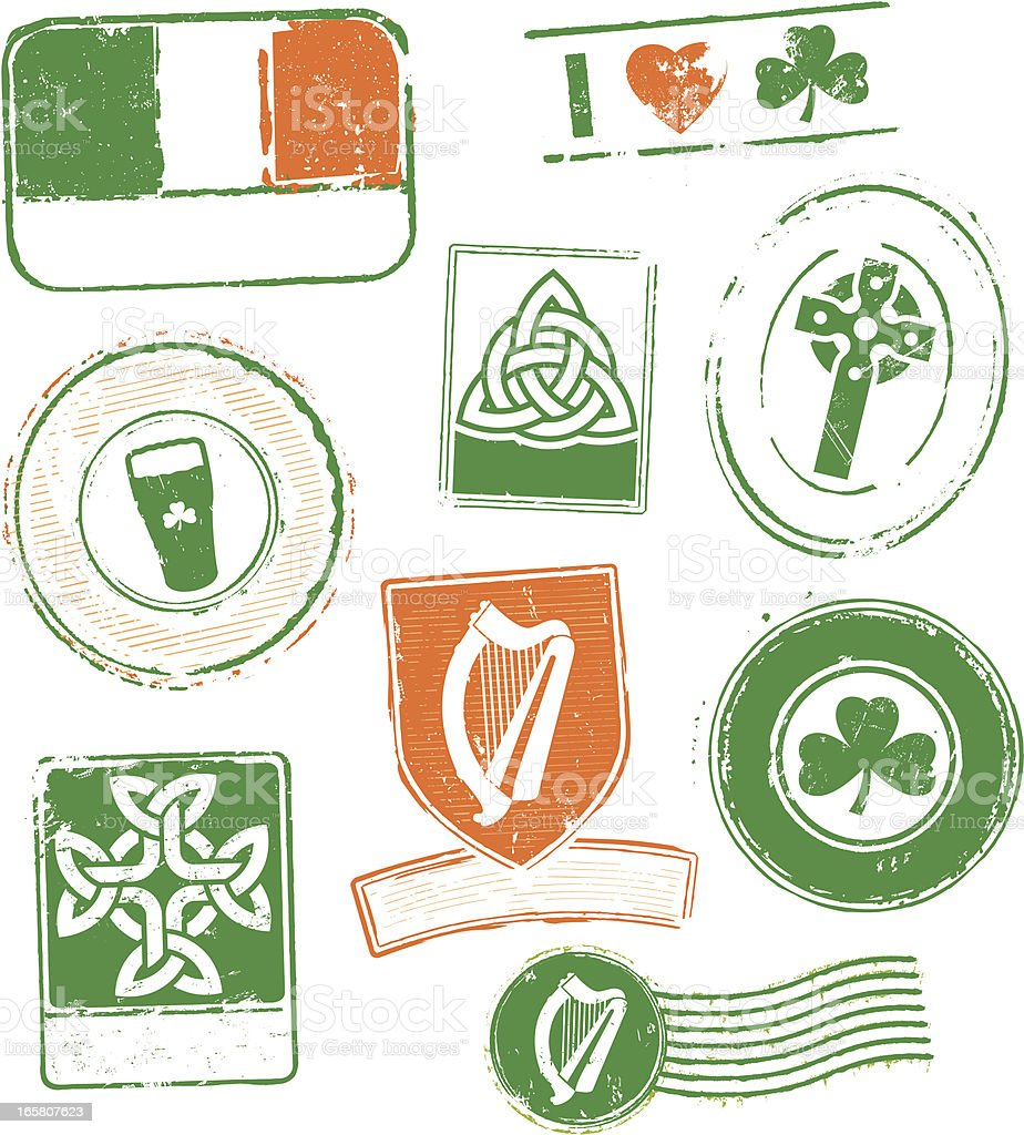 Ireland Rubber Stamps royalty-free stock vector art