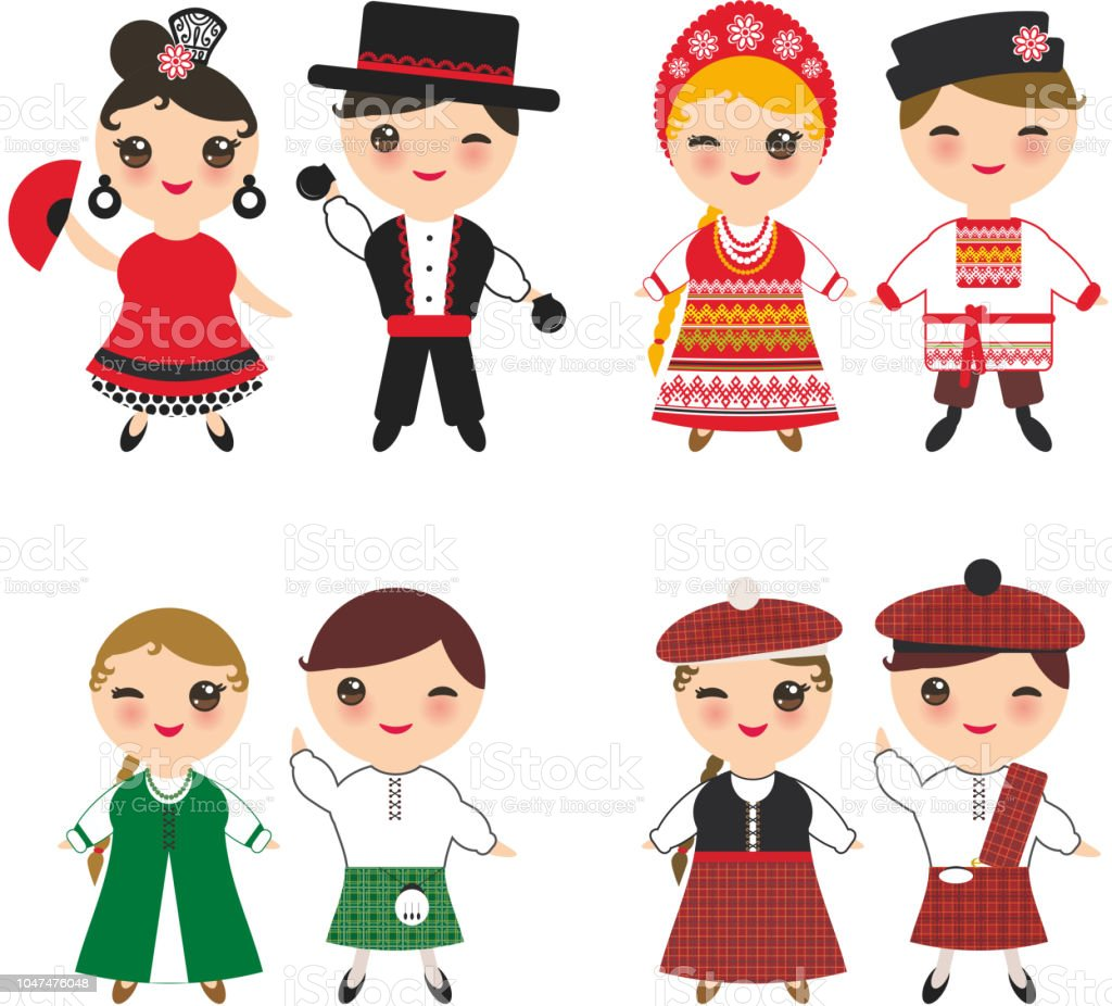 dc2e108006c0 Ireland Scotsman Slavic Spanish flamenco dancer boy and girl in national  costume and hat. Cartoon children in traditional Scotland dress, guitar.