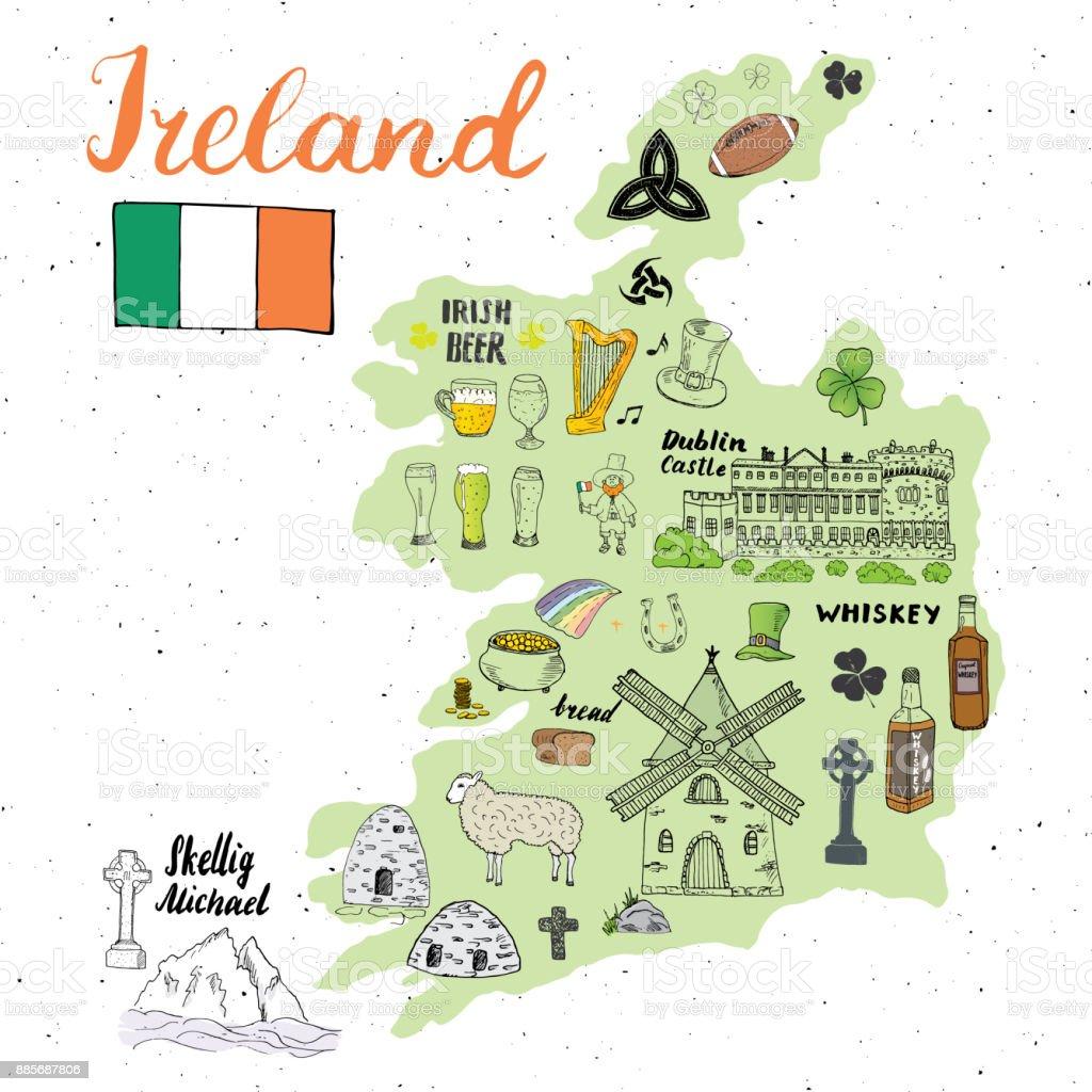 Irland Skiss Doodles Hand Dras Irländska Element Set Med Flagga Och