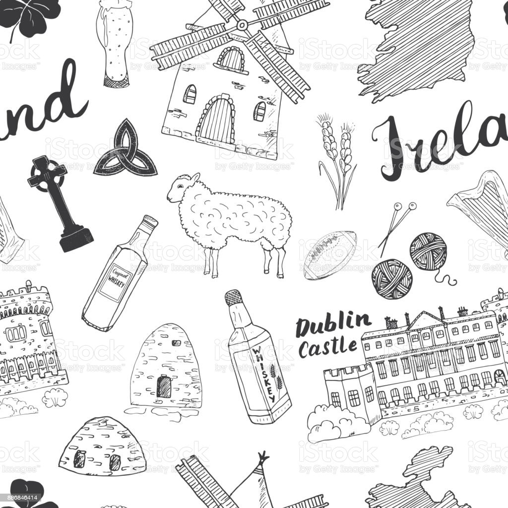 Sketch Map Of Ireland.Ireland Sketch Doodles Seamless Pattern Irish Elements With Flag And