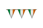 Ireland triangle flag garland. Irish carnaval and festival decoration. Vector illustration. St. Patricks Day.