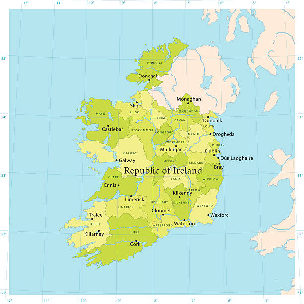 Ireland Vector Map Highly detailed vector map of the Republic of Ireland. File was created on June 24, 2011. The colors in the .eps-file are ready for print (CMYK). Included files: EPS (v8) and Hi-Res JPG. vector map green stock illustrations