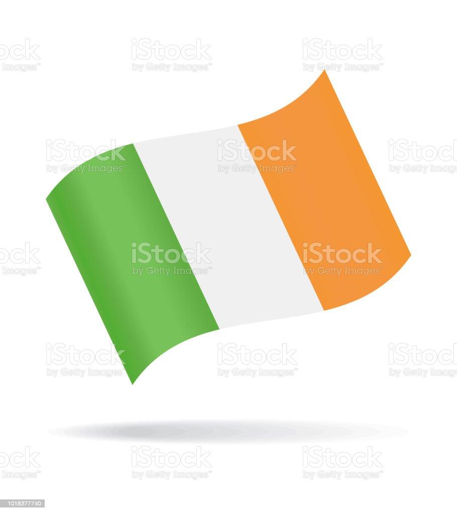 Irlanda - agitando bandera Vector icono brillante - ilustración de arte vectorial