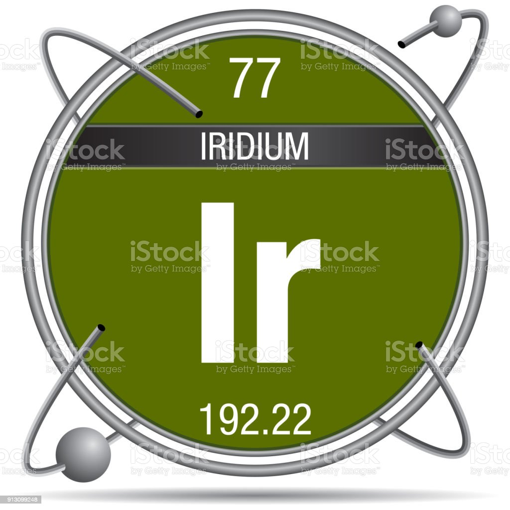 Iridium Symbol Inside A Metal Ring With Colored Background And