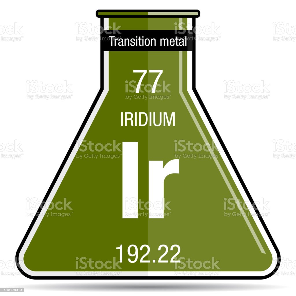 Iridium Symbol On Chemical Flask Element Number 77 Of The Periodic