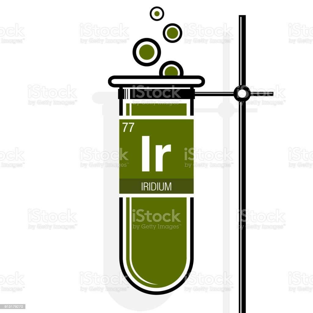 Iridium Symbol On Label In A Green Test Tube With Holder Element