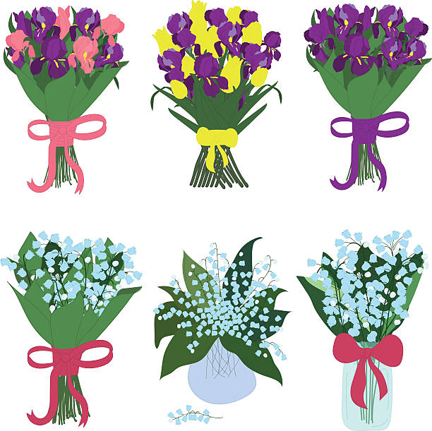 Iris and lilies of the valley, bouquets, vector Bouquets of iris and lilies of the valley in jars with bows trillium stock illustrations