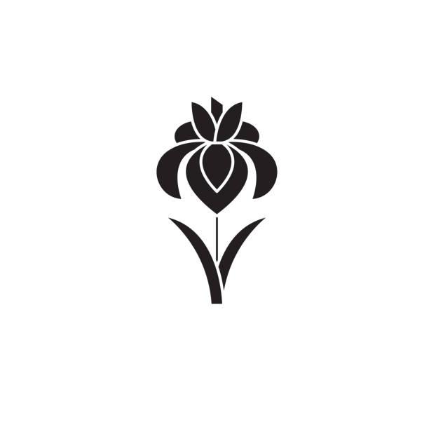 Iris black vector concept icon. Iris flat illustration, sign Iris black vector concept icon. Iris flat illustration, sign, symbol iris plant stock illustrations