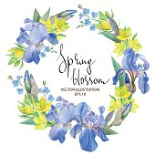 Floral Border with Iris flowers, Botanical Hand drawn Watercolor Vector Illustration