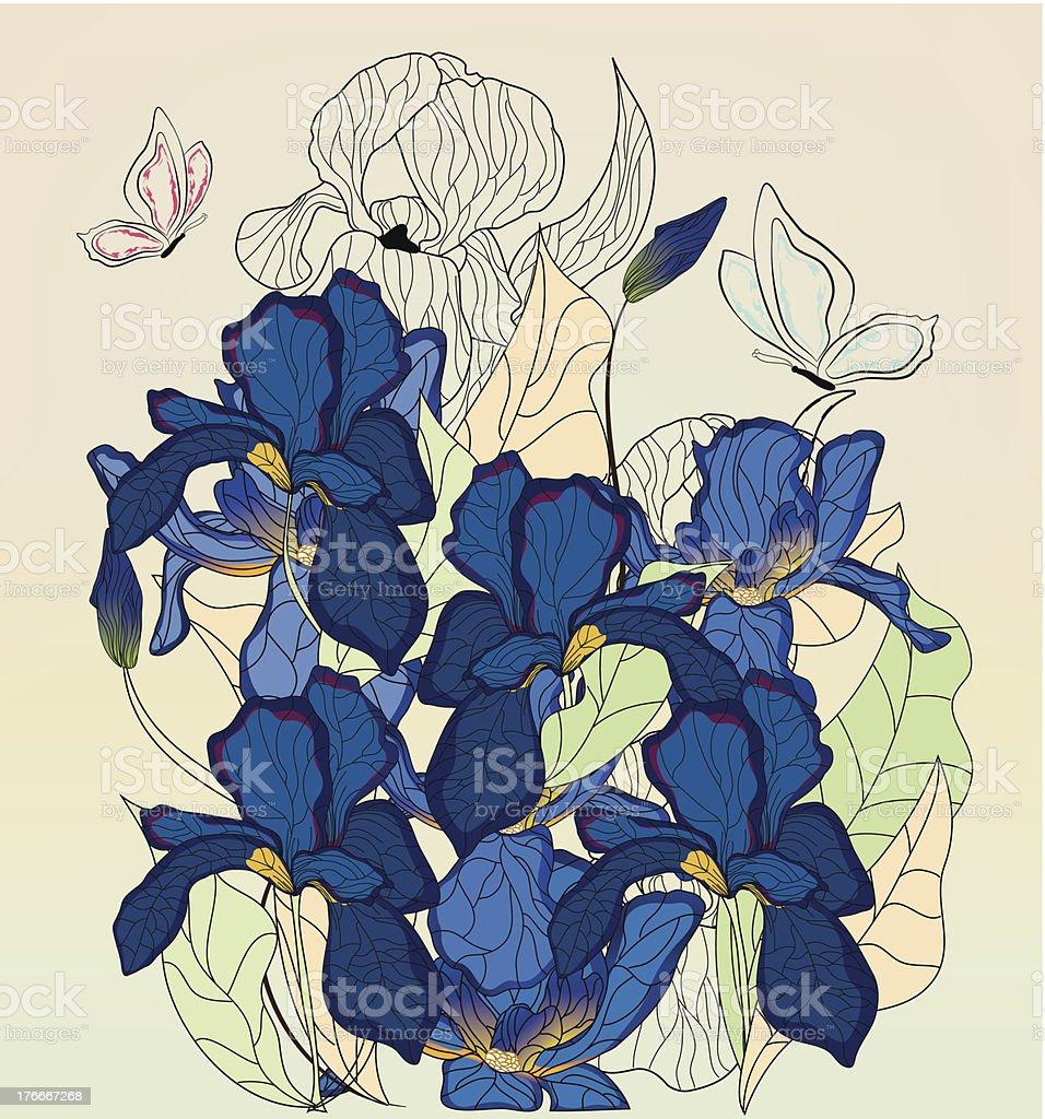 Iris composición con diseño de mariposas ilustración de iris composición con diseño de mariposas y más banco de imágenes de abstracto libre de derechos