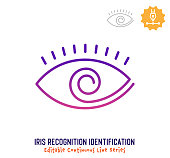 Iris recognition identification vector icon illustration for logo, emblem or symbol use. Part of continuous one line minimalistic drawing series. Design elements with editable gradient stroke line.