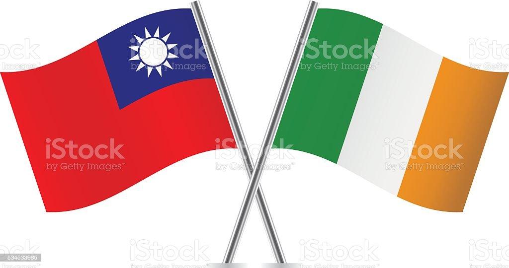 Irische und Taiwanesische Flagge. Vektor. – Vektorgrafik