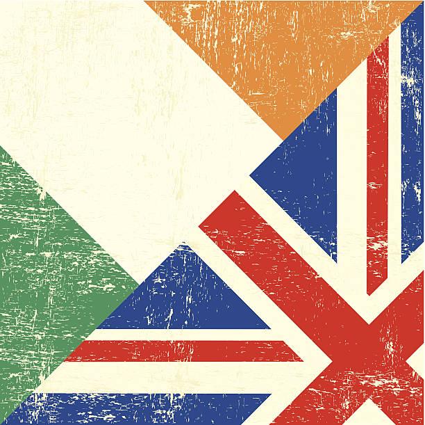 ilustraciones, imágenes clip art, dibujos animados e iconos de stock de grunge de bandera de irlanda y de reino unido - bandera irlandesa