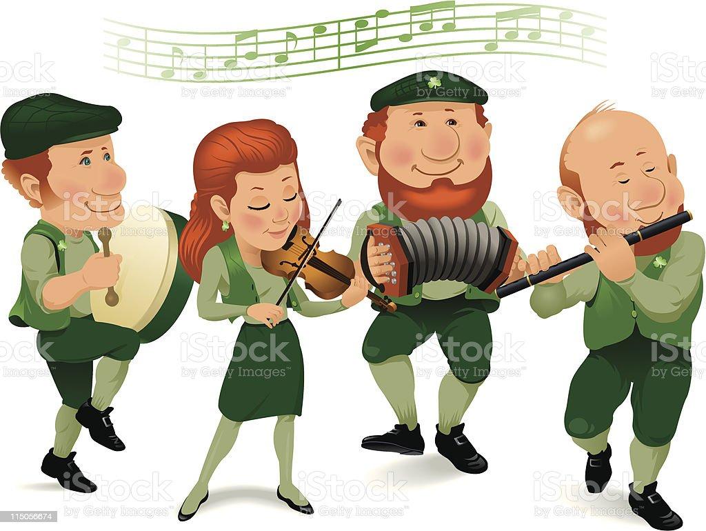 Irish Band Wearing Green and Playing Instruments royalty-free stock vector art