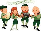 Irish Band Wearing Green and Playing Instruments