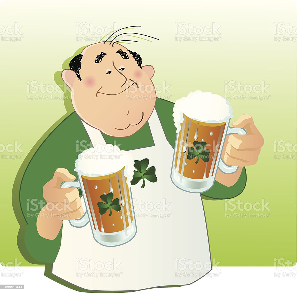Irish Beer Bartender A bartender with two mugs of Irish beer. Shamrocks on apron and beer mugs. Adult stock vector