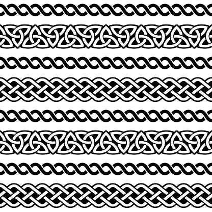 Irish Celtic seamless vector pattern, braided frame designs for greeting cards, St Patrick's Day celebration