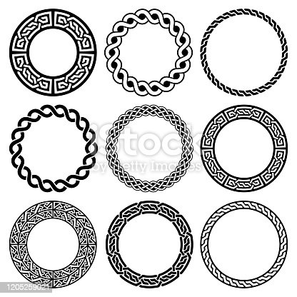 istock Irish Celtic vector round frame set, braided mandala pattern - greeting card and invititon background, St Patrick's Day ornament 1205259021