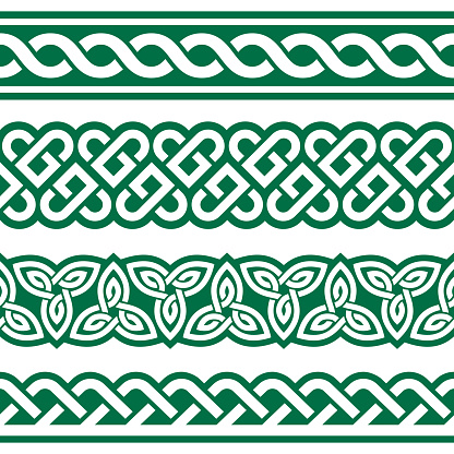 Irish Celtic vector seamless vector braided design set with hearts and knots, perfect for greeting cards, St Patrick's Day celebration