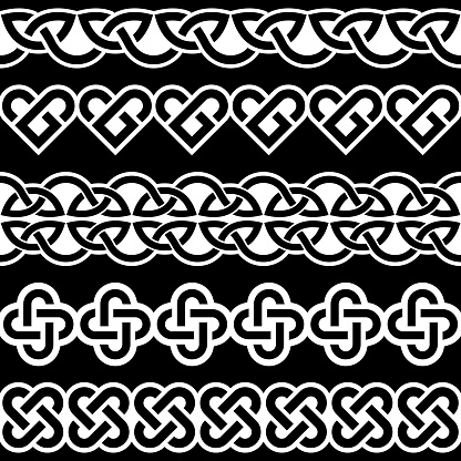Irish Celtic vector seamless vector braided white patterns collection on black background, border and frame design, perfect for greeting cards, St Patrick's Day celebration