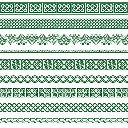 Irish Celtic vector seamless vector pattern set, border and frame collection, green braided ornaments for greeting cards, St Patrick's Day celebration